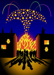 Domestic firework and bonfire party scene
