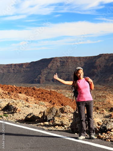 Girl Backpacking / Hitchhiking on Teide, Tenerife