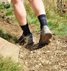 Man runs along a mountain path, closeup feet, sneakers