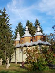 Antique wooden chapel at Pereiaslav-.Khmelnytskyi, Ukraine.