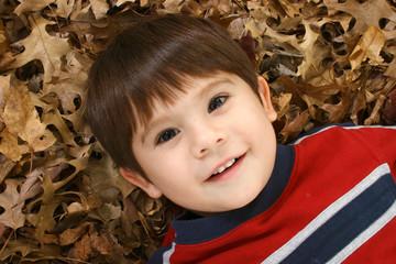 Boy in Leaves