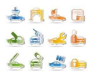 car and automobile service icon - vector icon set