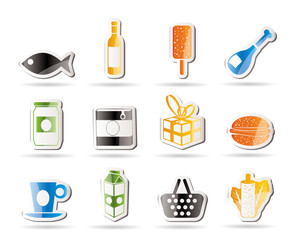 Shop, food and drink icons 1 - vector icon set