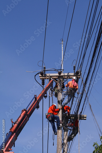 Electrician stays on the tower