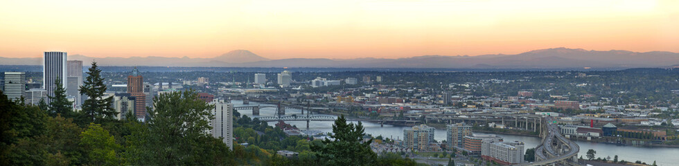 Portland Skyline along Willamette River Panorama