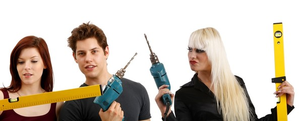 young people with tools (white background))