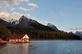 The Boathouse at Maligne Lake at Sunset, Jasper poster