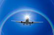 飛行機と光と虹