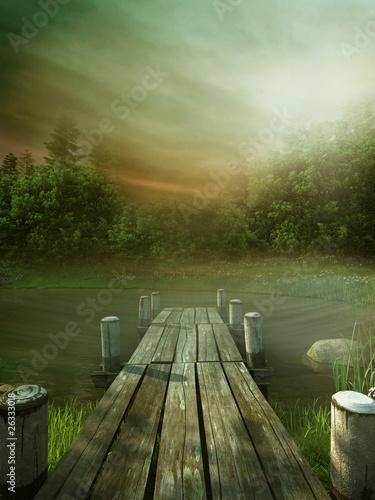 Fototapeta Drewniane molo na jeziorze