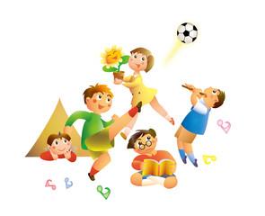 楽しく遊ぶ小学生の子どもたち