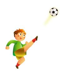 ボールを蹴る少年