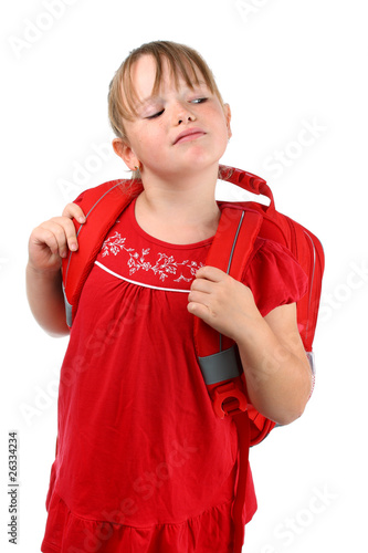 Small girl with school bag isolated on white