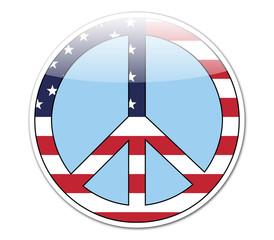 Pegatina simbolo paz con bandera USA