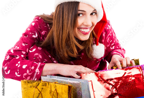 lady opening christmas gifts