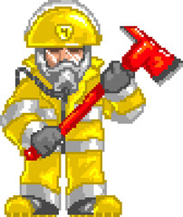 PixelArt: Fireman with Ax