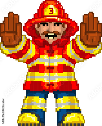 In de dag Pixel PixelArt: Fireman