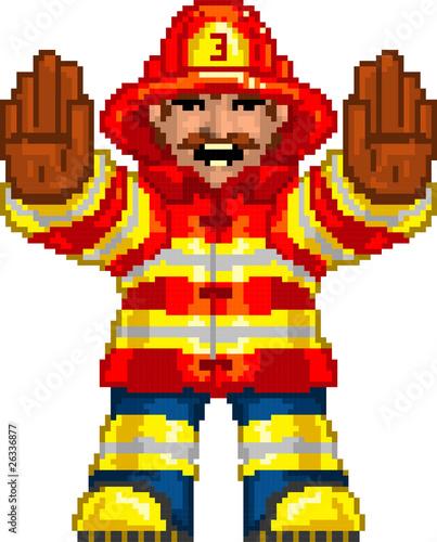 Poster Pixel PixelArt: Fireman