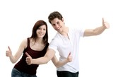 pleasant young couple - thumbs up (white background) poster