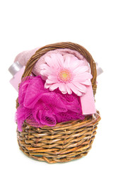a basket with soap