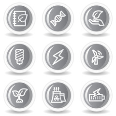 Ecology web icons set 5, circle grey glossy buttons
