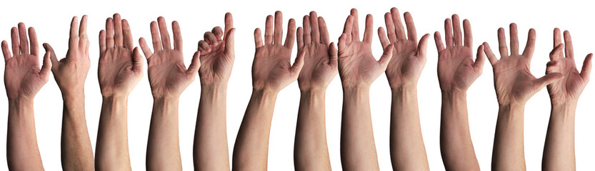 Row of raised naked hands
