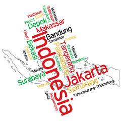 Indonesia map and cities