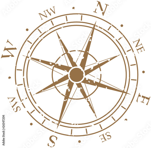 Vintage Compass Rose Vector - 26347204