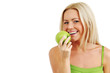 Leinwanddruck Bild - woman eat green apple