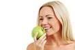 Detaily fotografie žena jíst zelené jablko