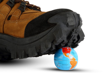 World crushed by a shoe