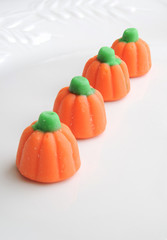 Halloween Candy Pumpkins Isolated on White