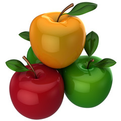Fresh colorful apples with little leaves. 3D rendering (Hi-Res)
