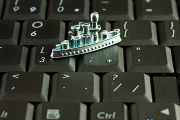 Symbolic figures on the laptop keyboard