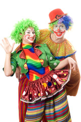 Couple of playful clowns