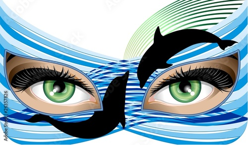 Donna con Maschera di Acqua-Water Mask Woman-Vector