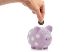 hand inserting coin into piggy bank poster