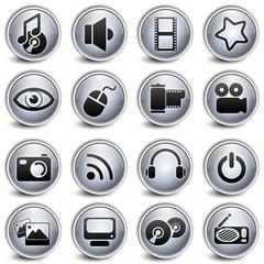 multimedia Gray Button