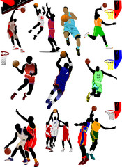 Fifteen Basketball players. Vector illustration