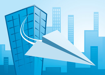 paper plane flying from an office building - vector image