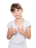 Portrait of an adorable child , showing a positive signal OK poster
