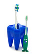 Blue glass for toothbrushes