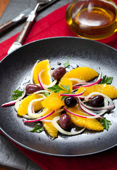 Orange and fennel salad with olives and onions