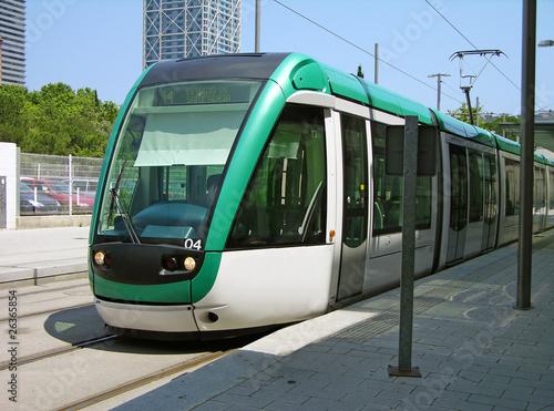 Leinwandbild Motiv Tram in Barcelona, Spain