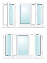 open plastic glass window vector illustration