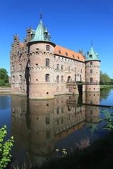 Egeskov castle and reflection, Denmark