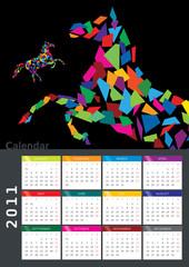 2011 Calendar with a horse graphic