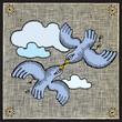 roleta: flying pigeons woodcut