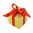 Golden gift wrapped present with red satin ribbon bow