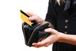 woman taking credit card out of purse