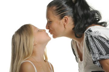 Mum kisses the daughter